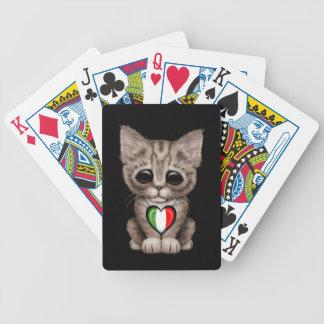 Cute Kitten Cat with Italian Flag Heart black Bicycle Poker Deck