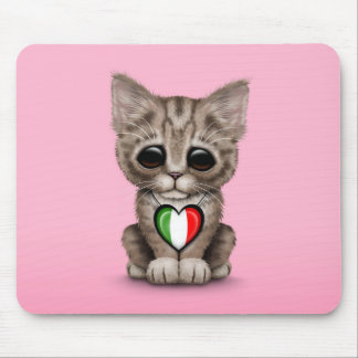 Cute Kitten Cat with Italian Flag Heart, pink Mouse Pad