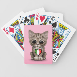 Cute Kitten Cat with Italian Flag Heart pink Bicycle Poker Deck