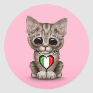 Cute Kitten Cat with Italian Flag Heart pink Round Stickers