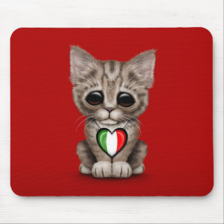 Cute Kitten Cat with Italian Flag Heart, red Mouse Pad
