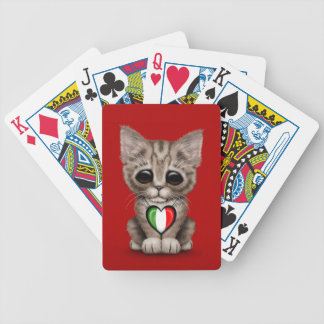 Cute Kitten Cat with Italian Flag Heart red Bicycle Playing Cards