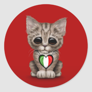 Cute Kitten Cat with Italian Flag Heart red Round Stickers