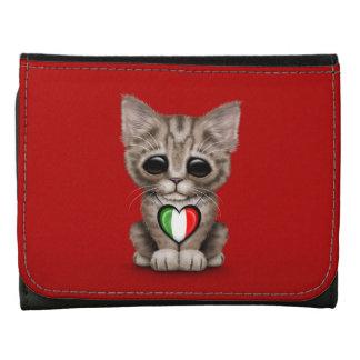 Cute Kitten Cat with Italian Flag Heart, red Wallet