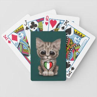 Cute Kitten Cat with Italian Flag Heart teal Card Deck