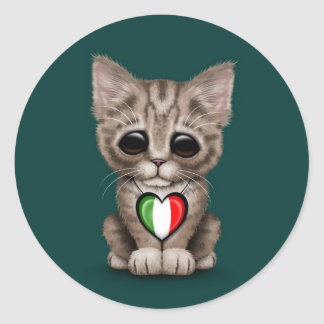Cute Kitten Cat with Italian Flag Heart teal Round Sticker