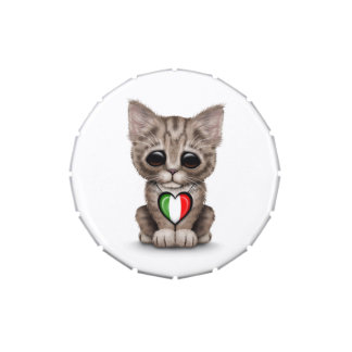 Cute Kitten Cat with Italian Flag Heart, white Jelly Belly Candy Tins