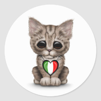 Cute Kitten Cat with Italian Flag Heart white Stickers