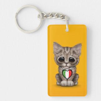 Cute Kitten Cat with Italian Flag Heart, yellow Keychain