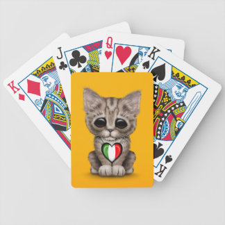 Cute Kitten Cat with Italian Flag Heart yellow Bicycle Poker Cards