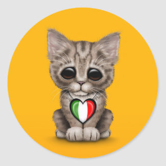 Cute Kitten Cat with Italian Flag Heart yellow Round Stickers