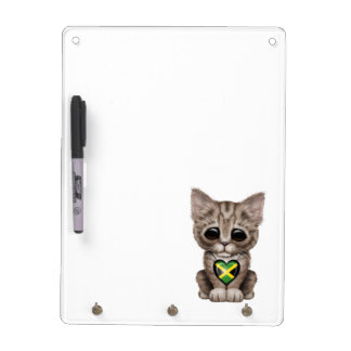 Cute Kitten Cat with Jamaican Flag Heart Dry-Erase Whiteboard