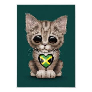 Cute Kitten Cat with Jamaican Flag Heart, teal Card