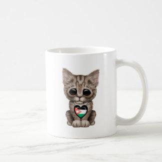 Cute Kitten Cat with Jordanian Flag Heart Coffee Mug