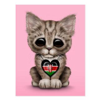Cute Kitten Cat with Kenyan Flag Heart, pink Postcard