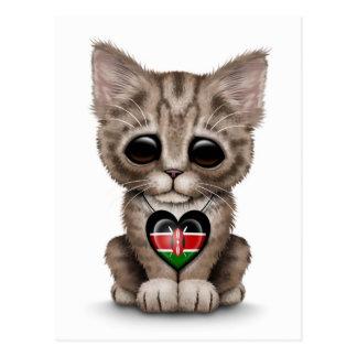 Cute Kitten Cat with Kenyan Flag Heart, white Postcard