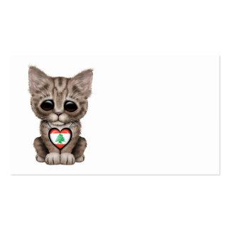 Cute Kitten Cat with Lebanese Flag Heart Business Cards