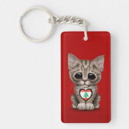 Cute Kitten Cat with Lebanese Flag Heart, red Keychain