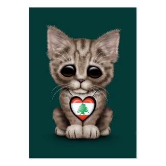 Cute Kitten Cat with Lebanese Flag Heart, teal Business Card Templates