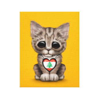 Cute Kitten Cat with Lebanese Flag Heart, yellow Gallery Wrap Canvas