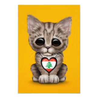 Cute Kitten Cat with Lebanese Flag Heart, yellow Card