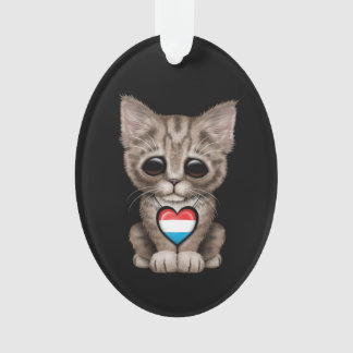 Cute Kitten Cat with Luxembourg Flag Heart, black Ornament
