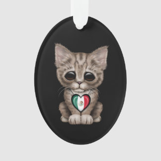 Cute Kitten Cat with Mexican Flag Heart, black Ornament