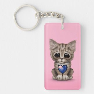 Cute Kitten Cat with New Zealand Flag Heart, pink Keychain