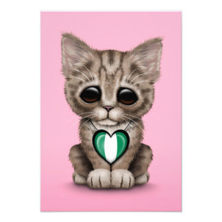 Cute Kitten Cat with Nigerian Flag Heart, pink Personalized Invitation