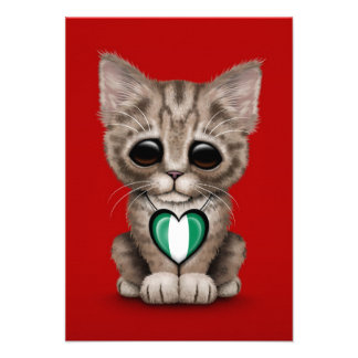 Cute Kitten Cat with Nigerian Flag Heart, red Custom Announcements
