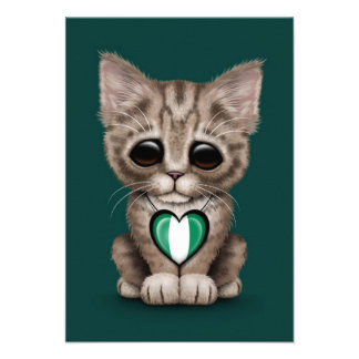 Cute Kitten Cat with Nigerian Flag Heart, teal Personalized Announcements