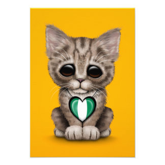 Cute Kitten Cat with Nigerian Flag Heart, yellow Personalized Announcement