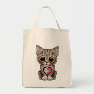 Cute Kitten Cat with Norwegian Flag Heart Grocery Tote Bag