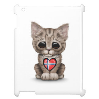 Cute Kitten Cat with Norwegian Flag Heart, white iPad Cases