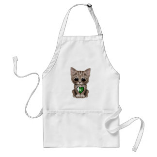 Cute Kitten Cat with Pakistani Flag Heart Adult Apron