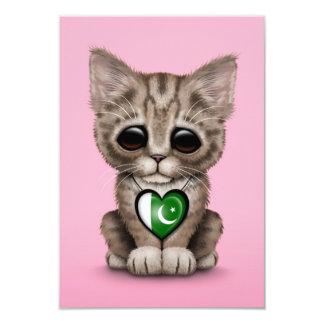 Cute Kitten Cat with Pakistani Flag Heart, pink 3.5x5 Paper Invitation Card