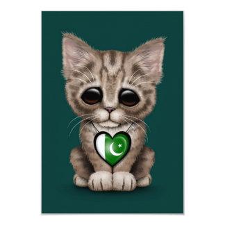 Cute Kitten Cat with Pakistani Flag Heart, teal 3.5x5 Paper Invitation Card