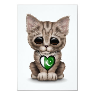 Cute Kitten Cat with Pakistani Flag Heart, white 3.5x5 Paper Invitation Card