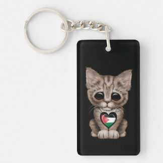Cute Kitten Cat with Palestinian Flag Heart, black Double-Sided Rectangular Acrylic Keychain