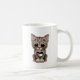 Cute Kitten Cat with Palestinian Flag Heart Coffee Mug