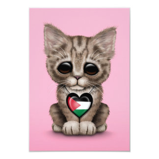 Cute Kitten Cat with Palestinian Flag Heart, pink Card