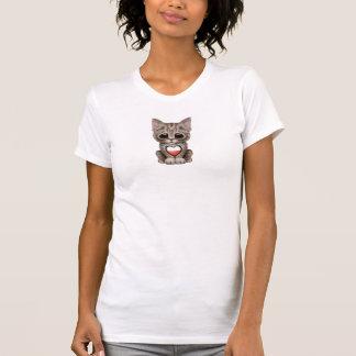 Cute Kitten Cat with Polish Flag Heart Tee Shirts