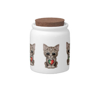 Cute Kitten Cat with Portuguese Flag Heart Candy Dishes