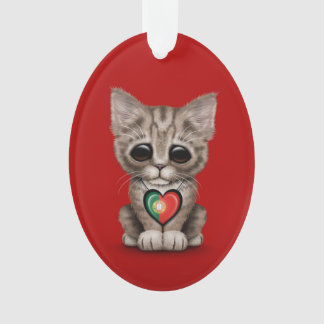 Cute Kitten Cat with Portuguese Flag Heart, red