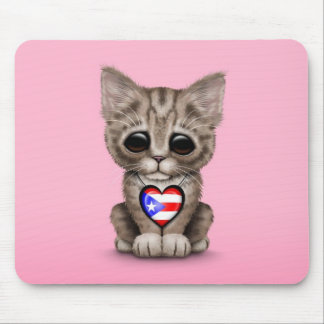 Cute Kitten Cat with Puerto Rico Flag Heart, pink Mouse Pads