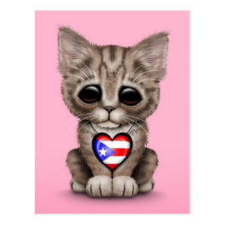Cute Kitten Cat with Puerto Rico Flag Heart, pink Postcard
