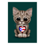 Cute Kitten Cat with Puerto Rico Flag Heart, teal Business Cards