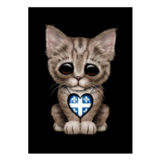 Cute Kitten Cat with Quebec Flag Heart black Business Card Template