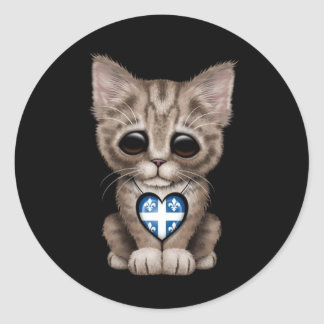 Cute Kitten Cat with Quebec Flag Heart, black Classic Round Sticker