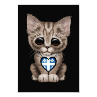 Cute Kitten Cat with Quebec Flag Heart, black 3.5x5 Paper Invitation Card